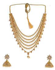 Gold Finish Pearls Beads Styled Necklace Jewellery For Women