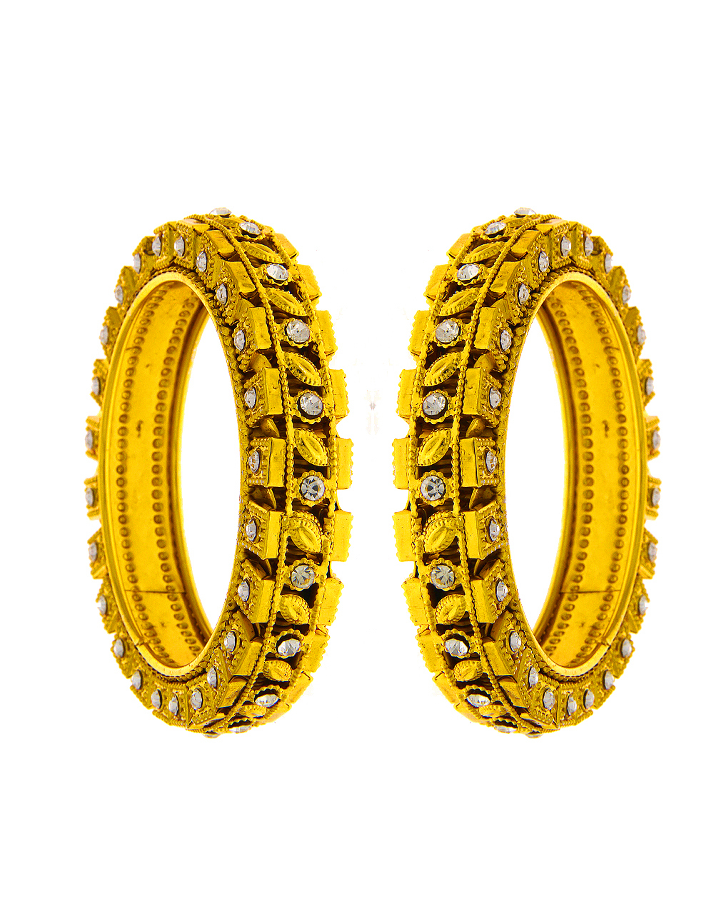 Gold Finish Bangles Studded With Stones Bangles For Women