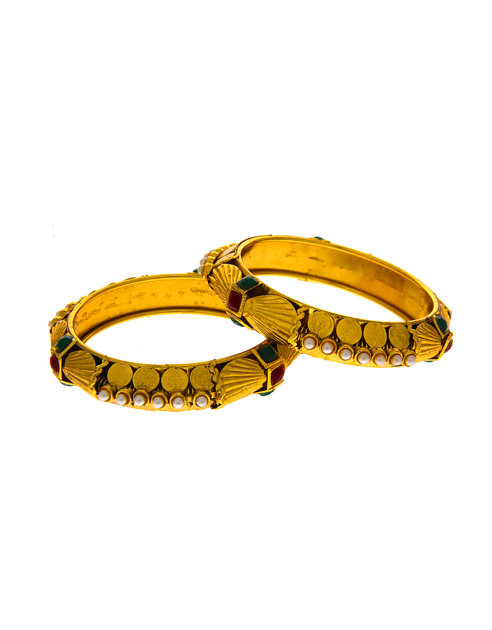 Gold Finish Moti Styled Bangles Kada