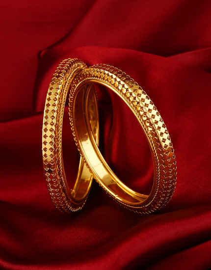 Gold Finish Fancy Bangles For Women