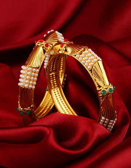 Designer Antique Gold Finish Fancy Bangles
