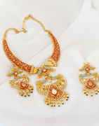 Gold Finish Pearls Styled Design Necklace Studded With Stone Jewellery