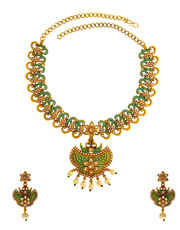 Green Colour Fancy Design Floral Pearls Beads Styled Necklace Set