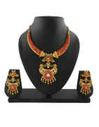 Traditional Design Pearls Beads Studded Necklace Set