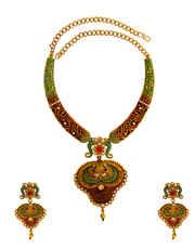 Green Colour Trendy Red Colour Stone Fancy Design Necklace Set
