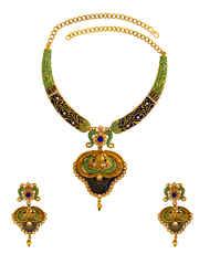 Blue Colour Diamond Gold Finish Stone Studded Necklace
