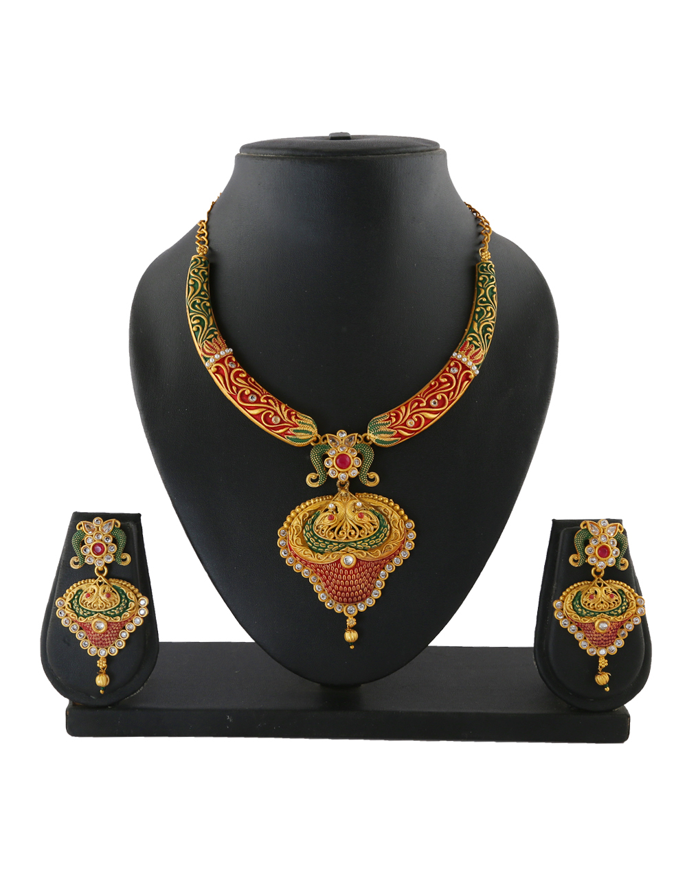 Floral Traditional Design Diamond Studded Pearls Styled Necklace