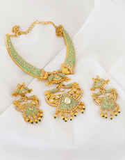 Gold Finish Diamond Studded Green Colour Pearls Styled Necklace Set
