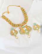 Stylish Pearls Design Green Colour Necklace For Women