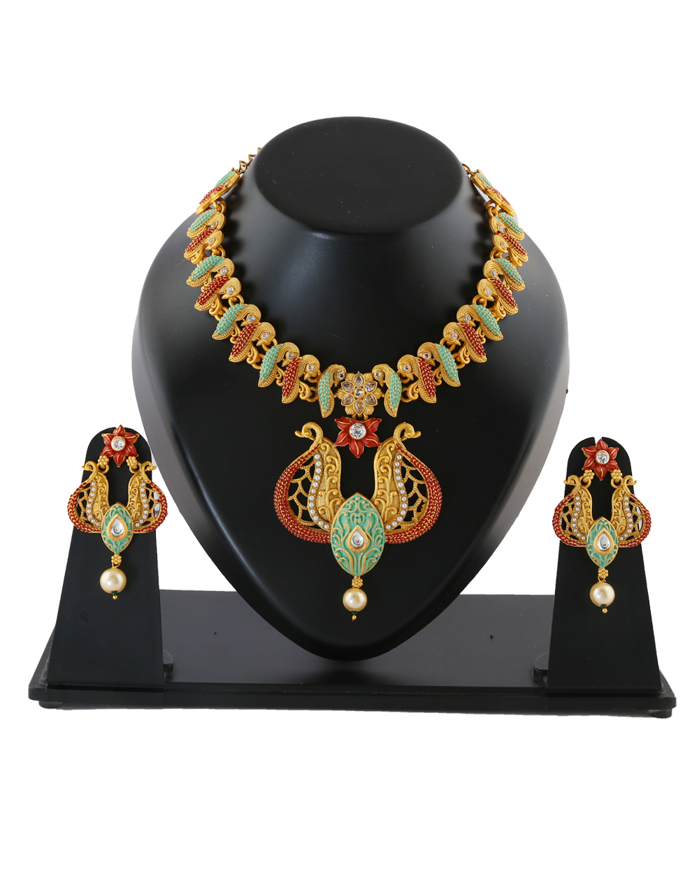 Pearls Beads Gold Finish Green Colour Necklace For Women Fashion