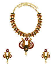 Gold Finish Pearls Design Red Colour Styled Necklace Set