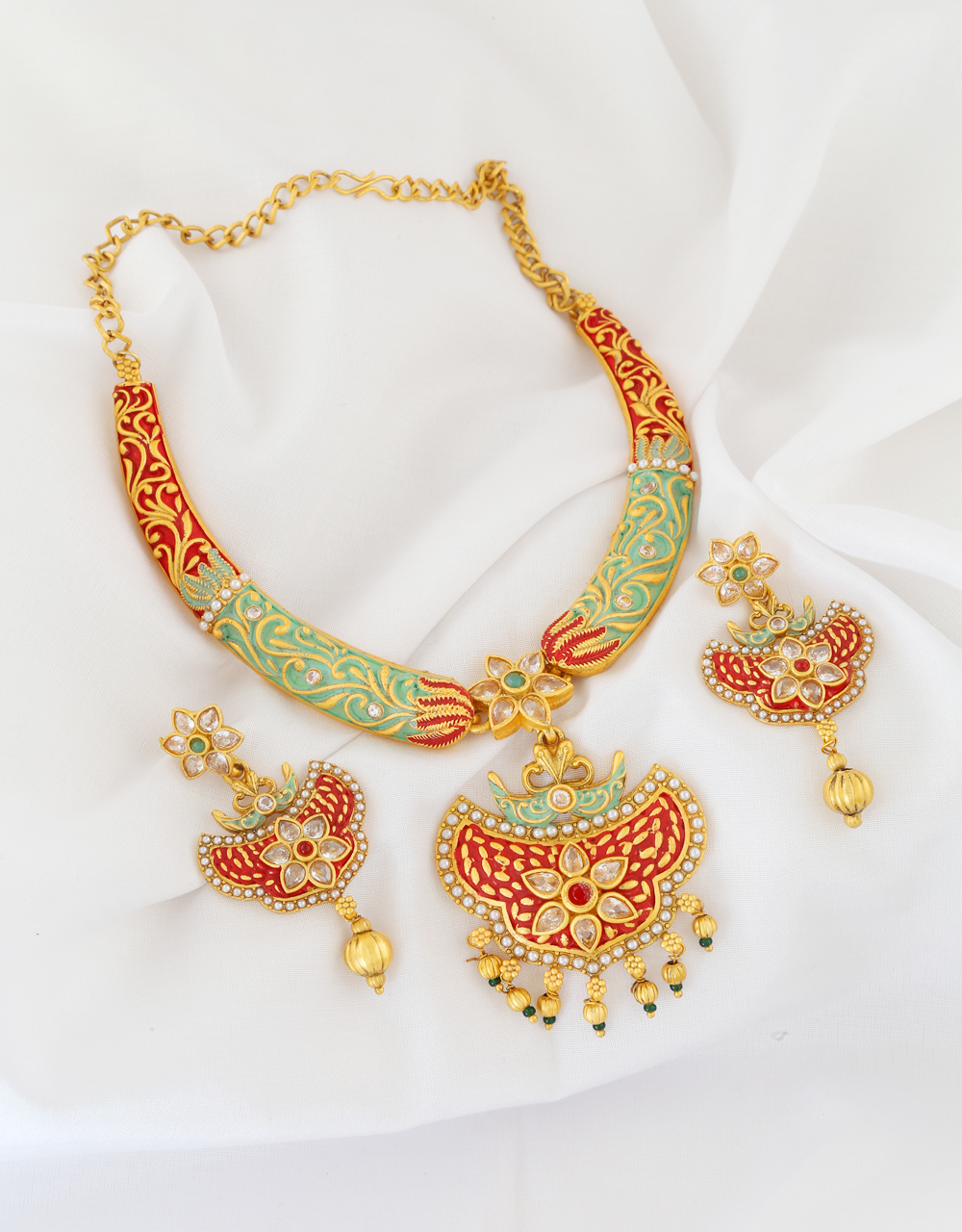 Floral Styled Green Colour Red Stone Necklace Set For Women