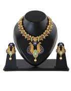 Gold Finish Pearls Beads Diamond Styled Fancy Design Necklace