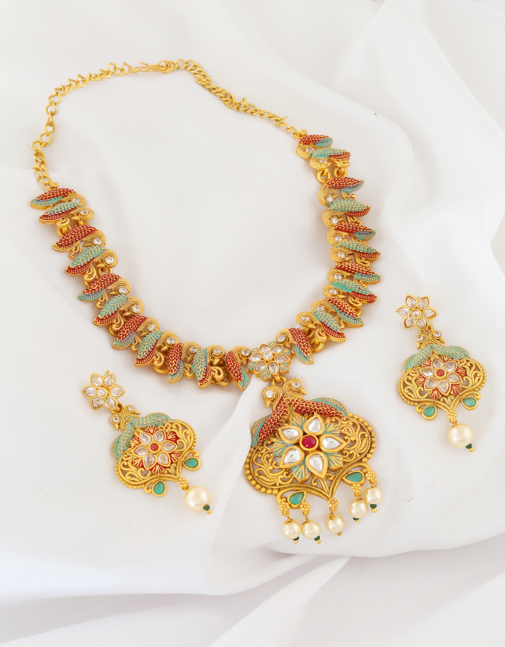 Green Colour Pearls Beads Floral Design Necklace Set