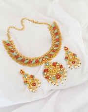 Fancy Multi Colour Moti Design Diamond Studded Necklace Set