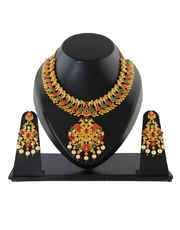 Ruby Stone Design Pearls Beads Styled Floral Necklace Set