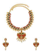 Classic Pearls Beads Floral Fancy Design Necklace Set