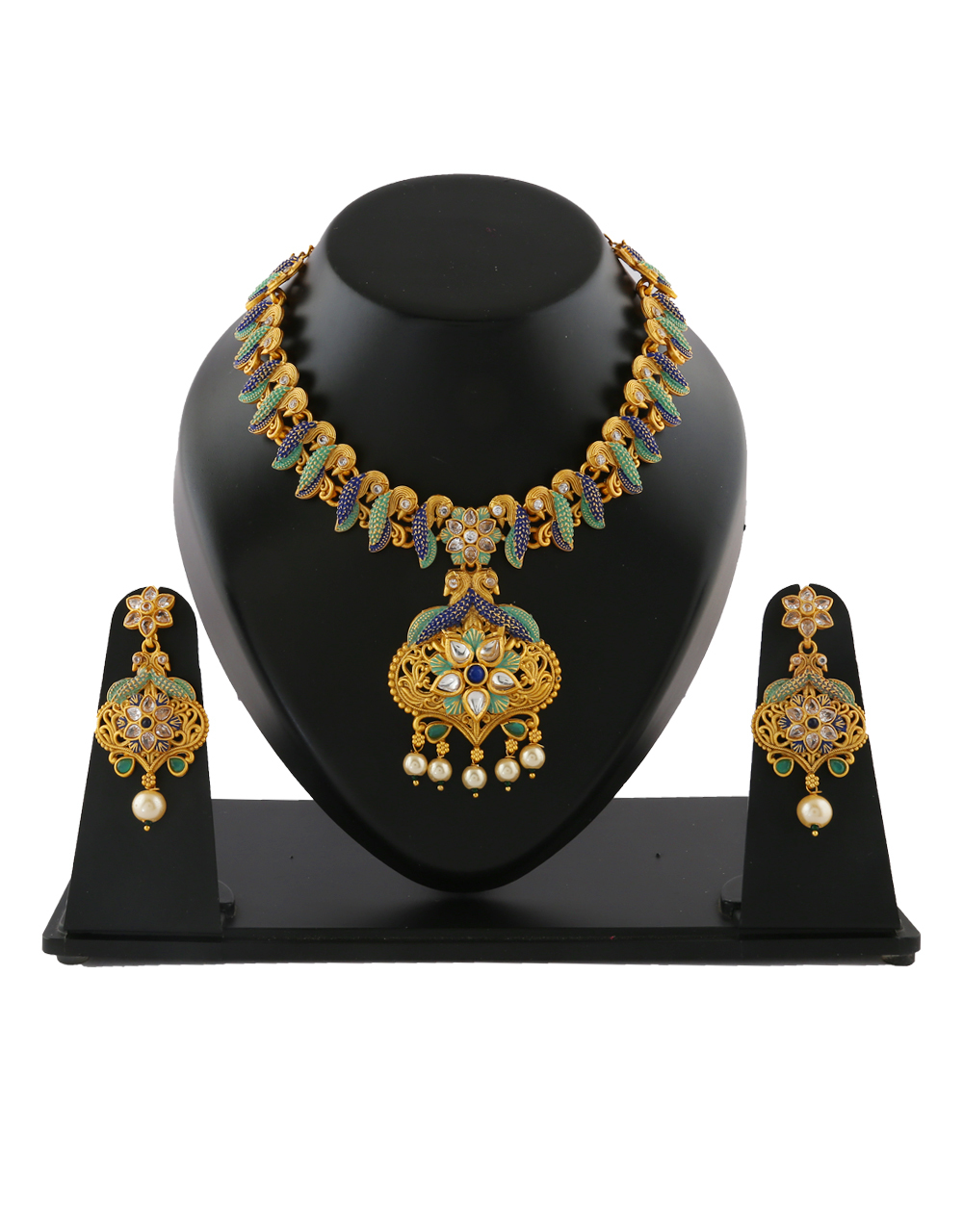 Stylish Pearls Design Green Colour Necklace For Girls