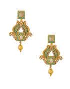 Classic Diamond Stone Green Colour Necklace Set