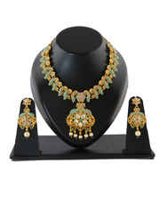 Gold Finish Diamond Styled Pearls Beads Green Colour Necklace Set
