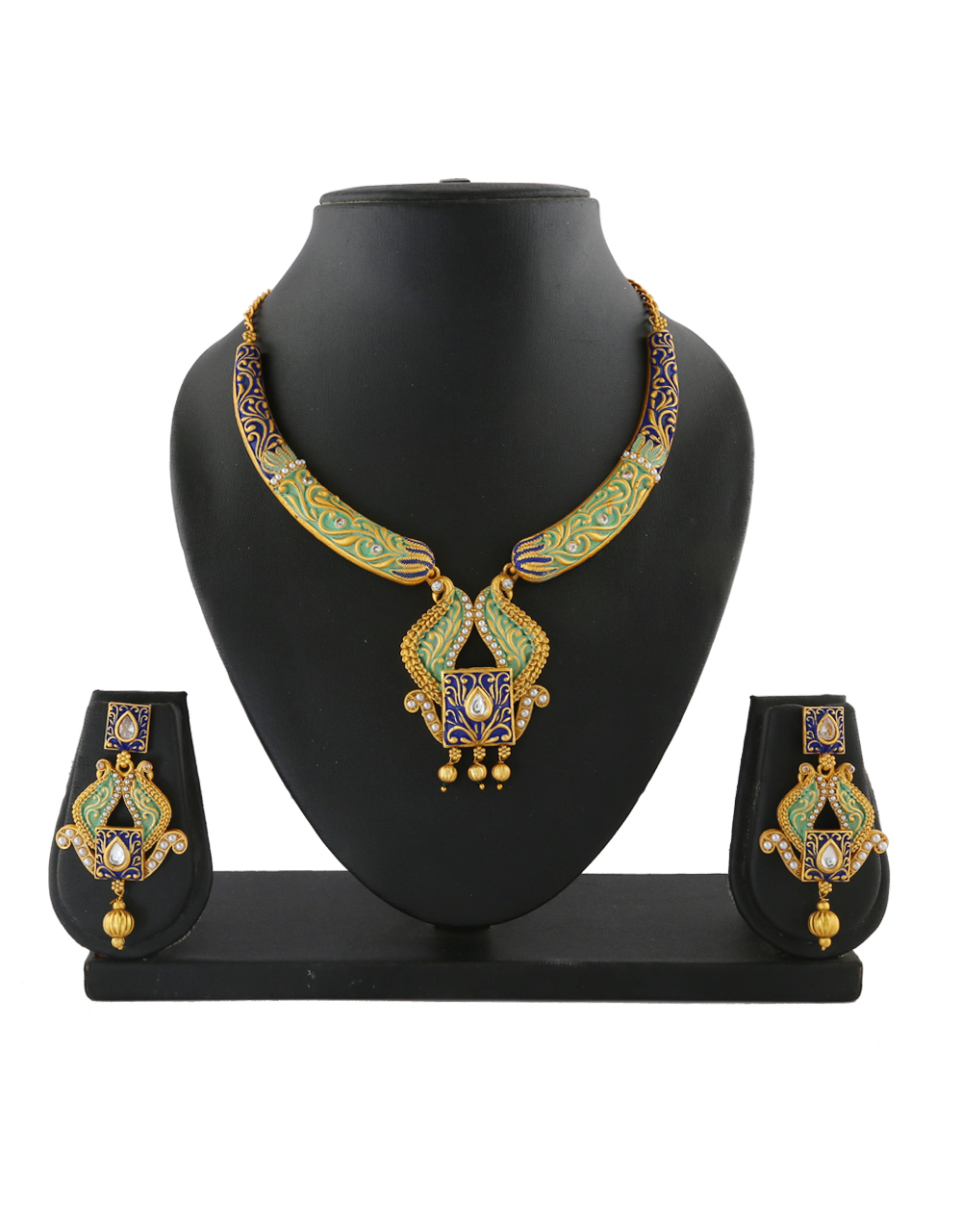 Gold Finish Green Colour Blue Stone Styled Necklace Set