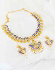 Gold Finish Blue Colour Design Pearls Beads Styled Necklace Set
