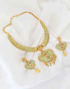 Gold Finish Stylish Green Colour Pearls Styled Necklace Set