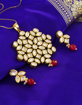 Fancy Red Colour Gold Finish Pendent Set For Women