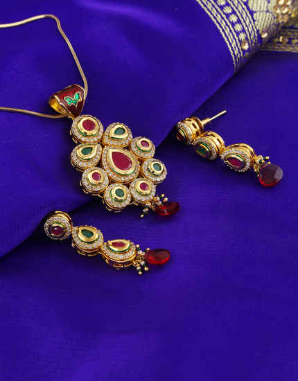 Multi Colour Gold Finish Kundan Pendent Set