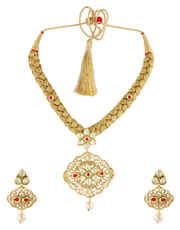 Gold Finish Moti Styled Floral Design Kundan Pendent Set