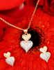 Heart Shape Gold Finish Fancy Diamond Pendant Set
