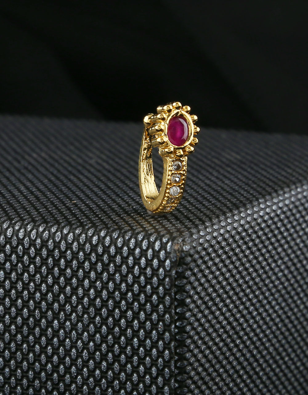 American Ruby Diamond Nosepin Studded With Stones