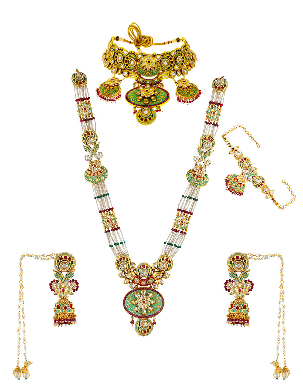 Green Colour Moti Styled Dulhan Necklace For Bride
