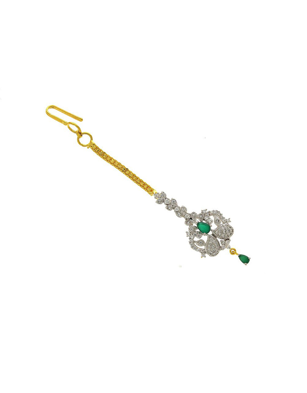 Green Colour Gold Finish Mang Tika For Party Wear