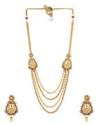 Blue Colour Gold Finish Traditional Pearls Styled Long Necklace