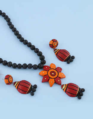 Orange-Red Colour Combination Terracotta Necklace