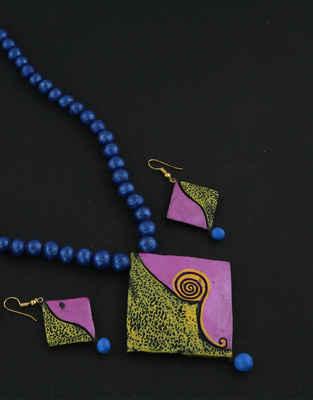 Purple Colour Trendy Terracotta Necklace