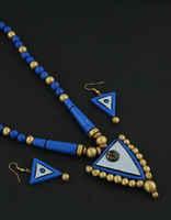 Blue-Purple Combination Handmade Terracotta Jewellery