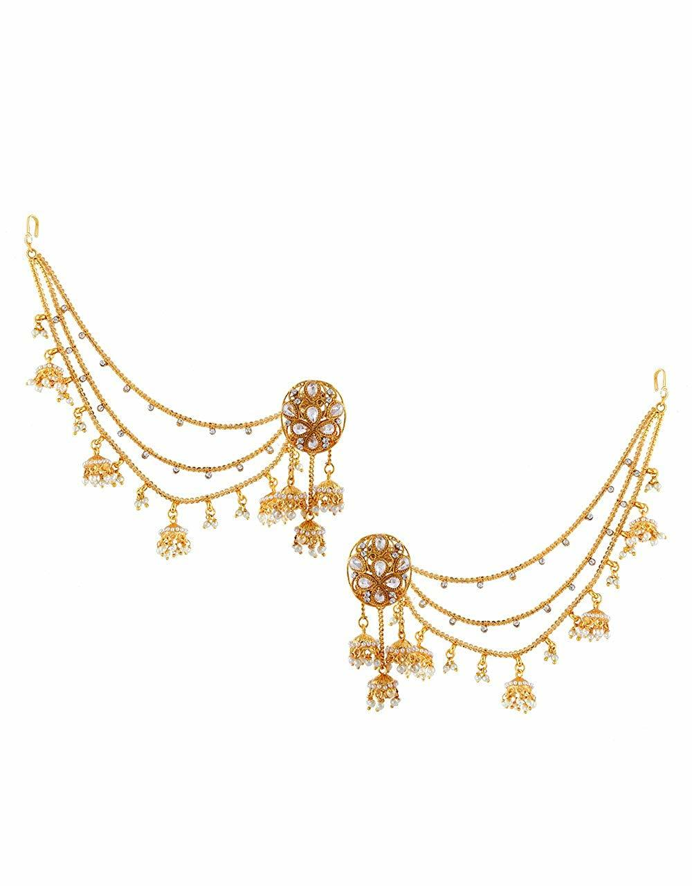 Antique Gold Finish Traditional Zhumki With Ear Chain For Wedding