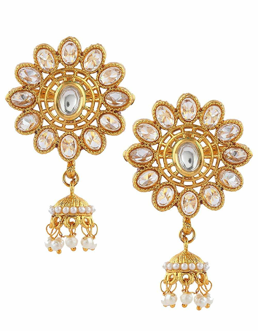 Floral Design Gold Finish Traditional Earring For Wedding