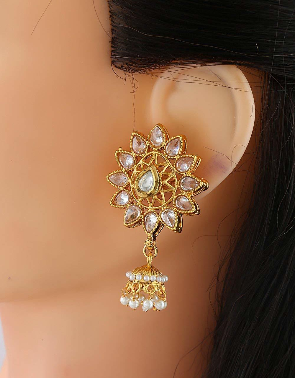 Fashionable Gold Finish Fancy Jhumki With Ear Tops