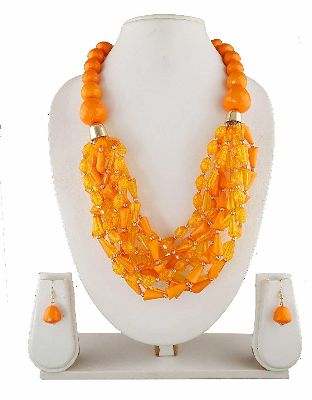 Orange Colour Gold Finish Western Mala