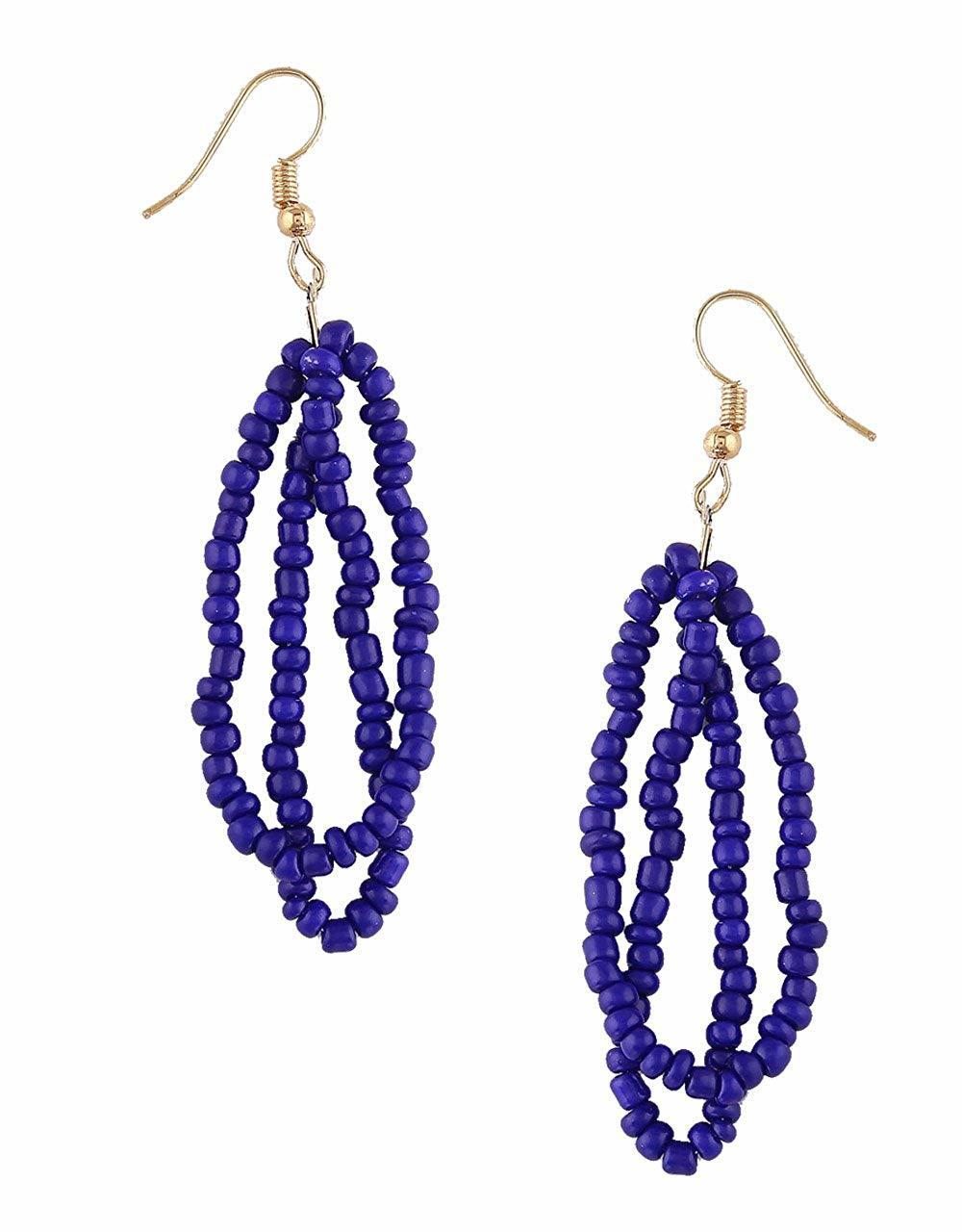 Blue Colour Gold Finish Beads Mala