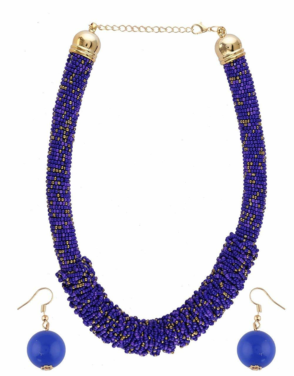 Blue Colour Gold Finish Fancy Beads Mala