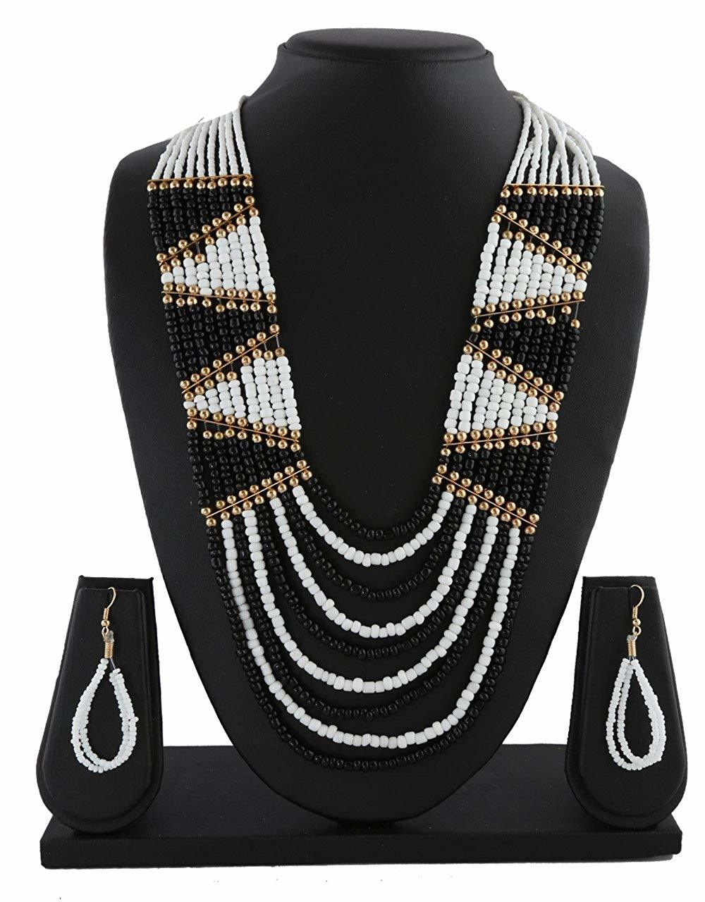 White-Black Colour Gold Finish Beads Jewellery