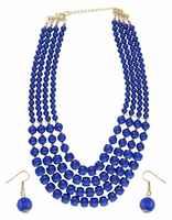 Blue Colour Layered Mala Jewellery