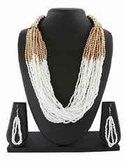 White Colour Gold Finish Trendy Mala