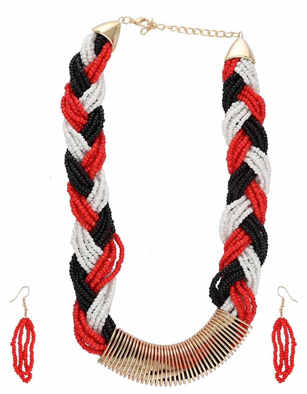 Gold Finish Red Colour Beads Necklace