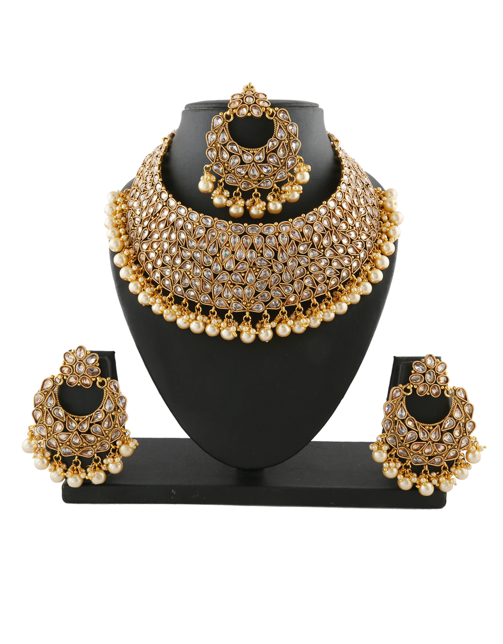Very Classy Gold Finish Wedding Necklace Styled With Pearls Necklace