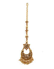 Floral Design Gold Finish Moti Styled Dulhan Necklace Jewellery